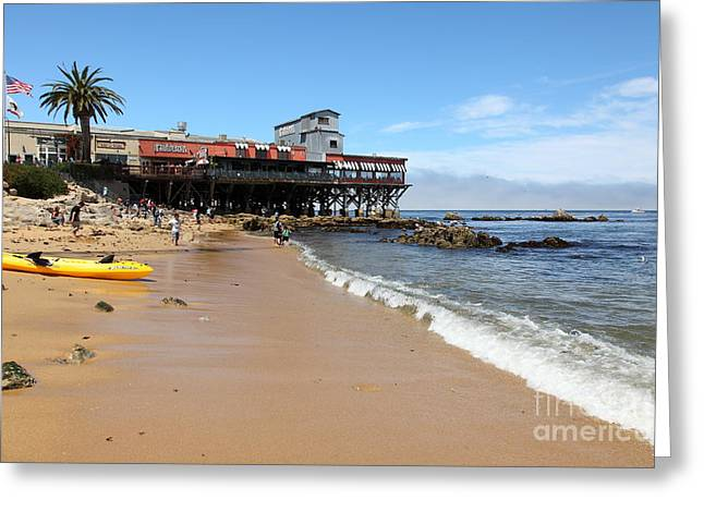 Beaches In Monterey Greeting Cards - Beach At The Steinbeck Plaza On Monterey Cannery Row California 5D25056 Greeting Card by Wingsdomain Art and Photography