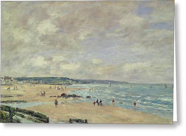 Sailing Boat Greeting Cards - Beach at Trouville Greeting Card by Eugene Louis Boudin