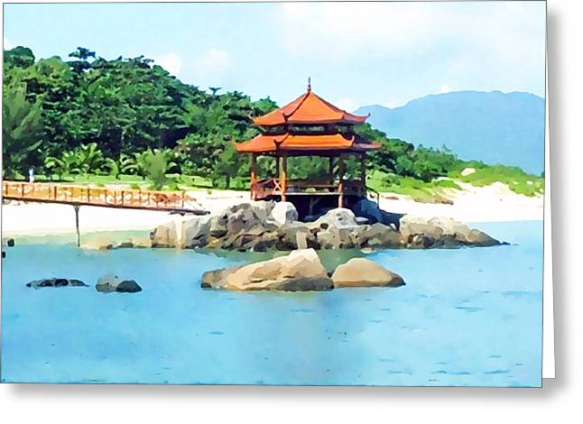 Southern Province Paintings Greeting Cards - Beach at Wuzhizhou Island Greeting Card by Lanjee Chee