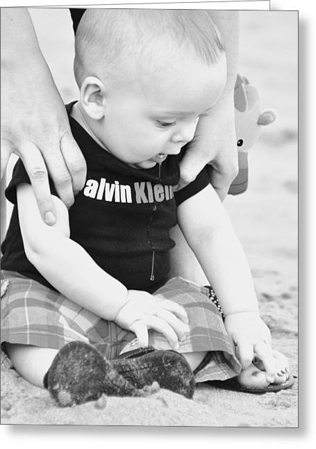 Candid Family Portraits Greeting Cards - Beach Baby Greeting Card by Lisa  DiFruscio