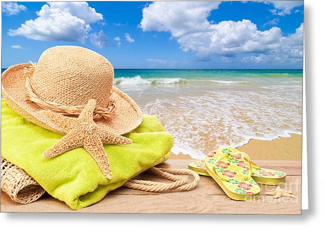 Concept Photographs Greeting Cards - Beach Bag With Sun Hat Greeting Card by Amanda And Christopher Elwell