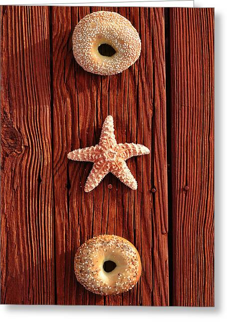 Wood Grain Greeting Cards - Beach Bagels Greeting Card by Laura Fasulo