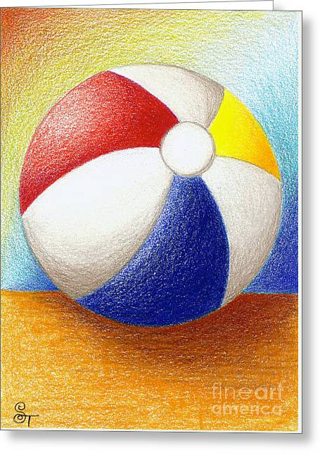Kids Room Drawings Greeting Cards - Beach Ball Greeting Card by Stephanie Troxell