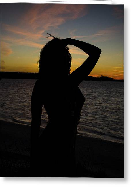 Navarre Beach Photographs Greeting Cards - Beach Beauty Silhouette  Greeting Card by Irene Nicole Photography