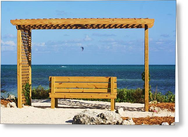 Kite Boarding Greeting Cards - Beach Bench Greeting Card by Chuck  Hicks