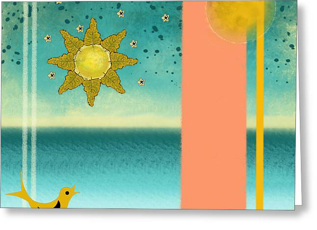 Moon Greeting Cards - Beach Bird Greeting Card by Carol Jacobs