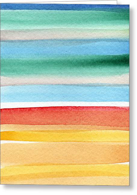 Abstract Beach Landscape Greeting Cards - Beach Blanket- colorful abstract painting Greeting Card by Linda Woods