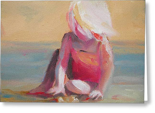 Recently Sold -  - Sand Castles Greeting Cards - Beach Blonde Girl in the Sand Greeting Card by Mary Hubley