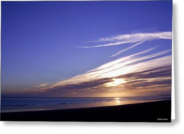 Beach Blue Sunset Greeting Card by Barbara St Jean