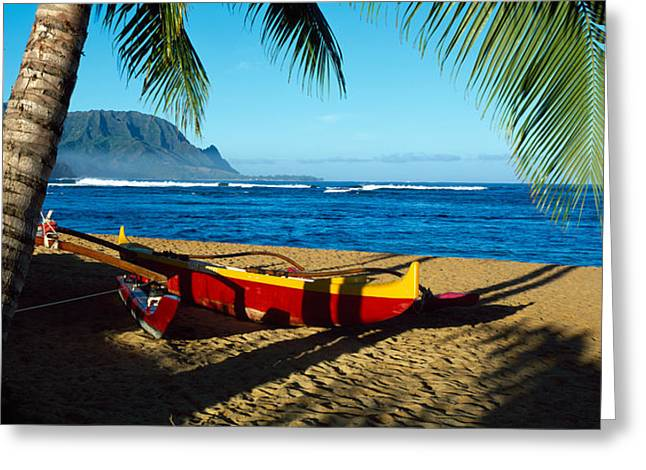 His Light Greeting Cards - Beach Boat Hanalei Bay Kauai Hi Usa Greeting Card by Panoramic Images