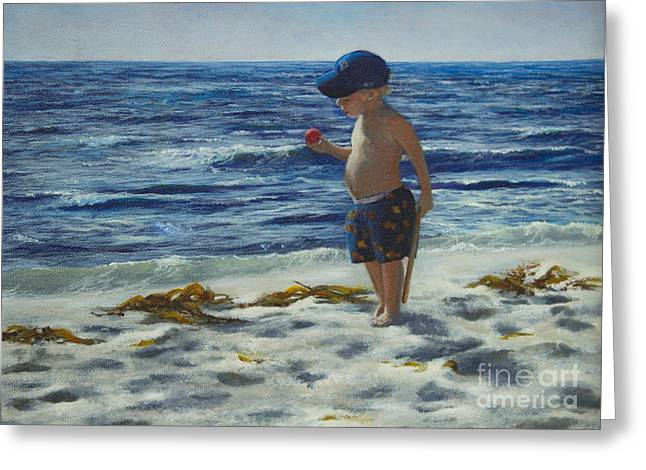 Baseball Print Paintings Greeting Cards - Beach Boy Greeting Card by Jeanette French