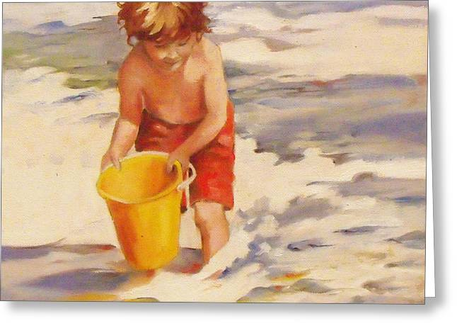 Sand Castles Greeting Cards - Beach Boy Greeting Card by Mary Hubley