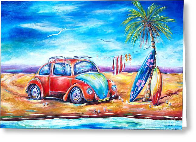 Vw Beetle Greeting Cards - Beach Bug Greeting Card by Deb Broughton