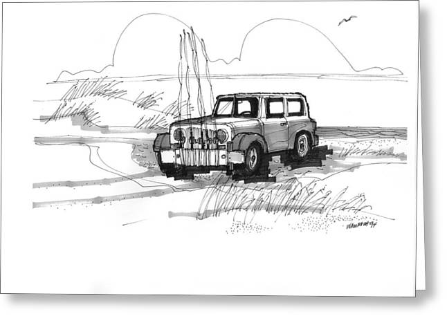 North Shore Drawings Greeting Cards - Beach Buggy Ocracoke 1970s Greeting Card by Richard Wambach