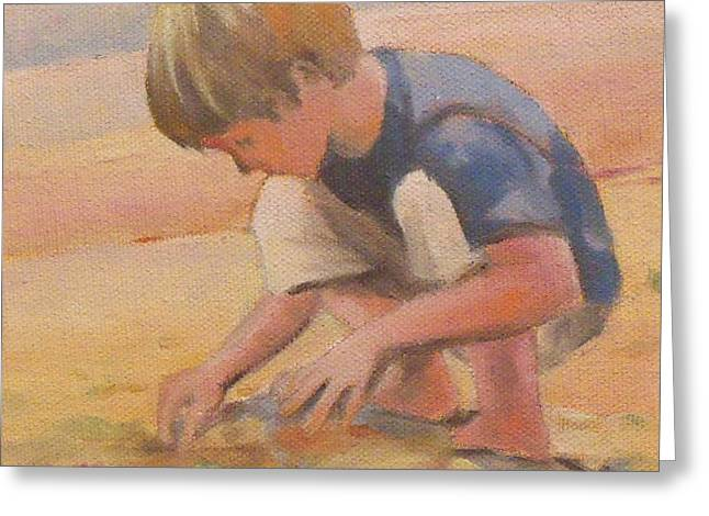 Kids Swimming At Beach Greeting Cards - Beach Bum boy in the sand Greeting Card by Mary Hubley