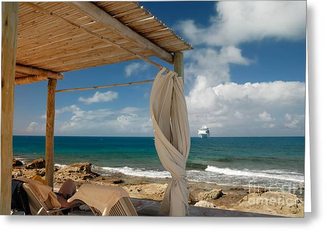 Little Stirrup Cay Greeting Cards - Beach Cabana  Greeting Card by Amy Cicconi