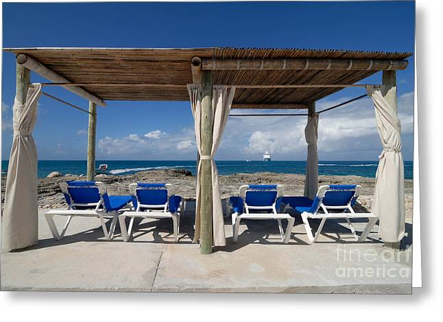 Little Stirrup Cay Greeting Cards - Beach Cabana with Lounge Chairs Greeting Card by Amy Cicconi