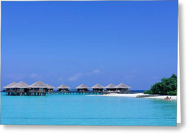 Tree Lines Greeting Cards - Beach Cabanas, Baros, Maldives Greeting Card by Panoramic Images