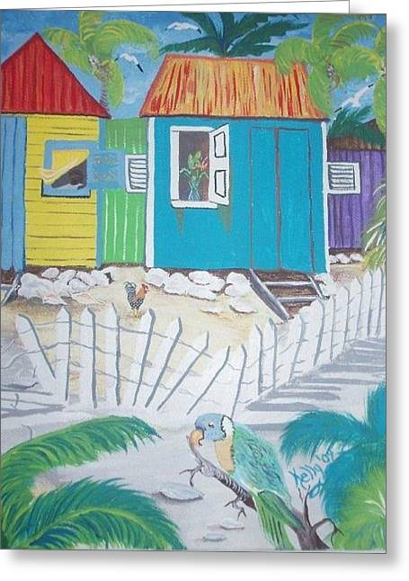Etc. Paintings Greeting Cards - Beach Cabanas Greeting Card by Shirley Kelly