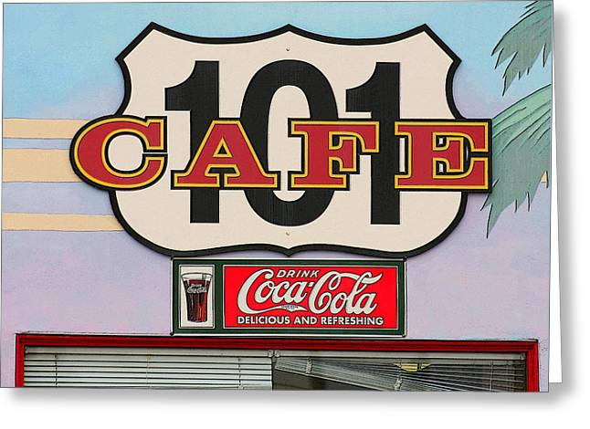 California Beach Art Greeting Cards - Beach Cafe Greeting Card by Art Block Collections