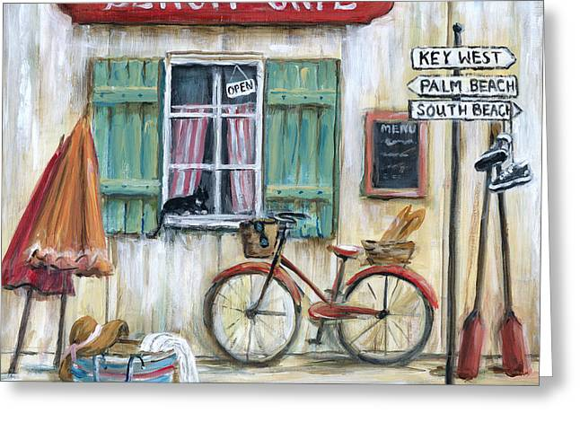 Sneakers Greeting Cards - Beach Cafe Greeting Card by Marilyn Dunlap