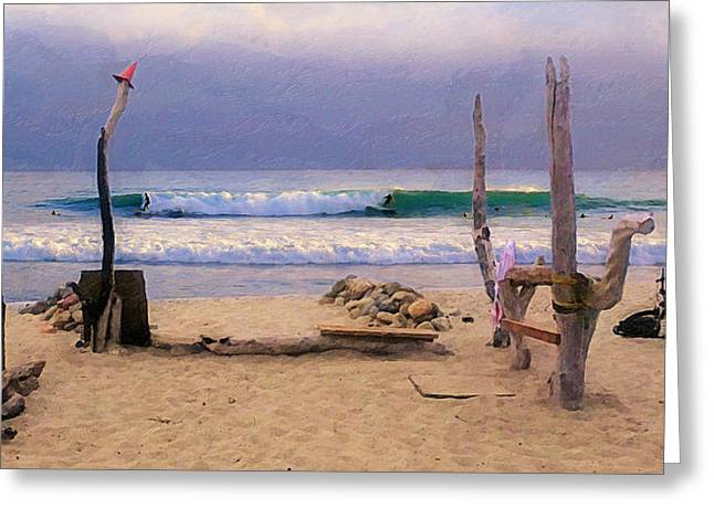 San Clemente Surfing Greeting Cards - Beach Camp at Trestles Greeting Card by Ron Regalado
