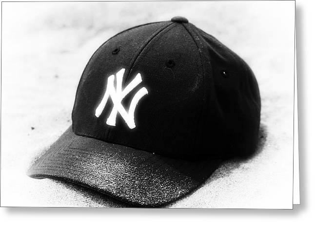 Baseball Cap Greeting Cards - Beach Cap black and white Greeting Card by John Rizzuto