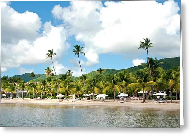 Beach, Carlisle Bay Hotel, Antigua Greeting Card by Nico Tondini
