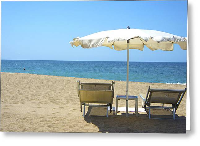 Beach Chair Greeting Cards - Beach Chairs Greeting Card by Aged Pixel