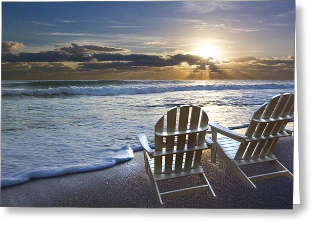 Beachscape Greeting Cards - Beach Chairs Greeting Card by Debra and Dave Vanderlaan