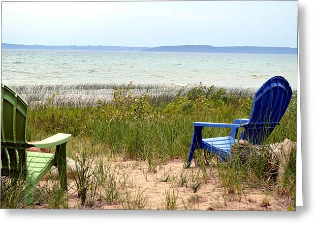 Elk Rapids Greeting Cards - Beach Chairs Greeting Card by Lorraine Paffenroth
