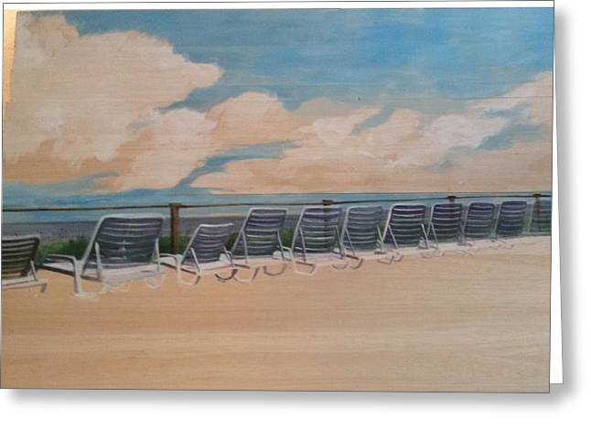 Lounge Paintings Greeting Cards - Beach Chairs on Deck Greeting Card by Donna Rollins