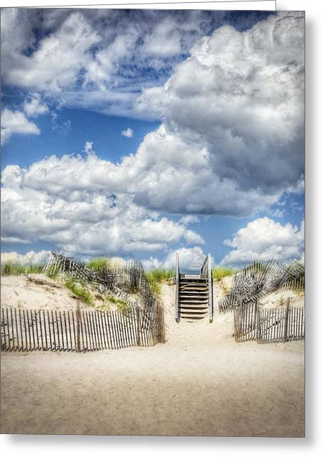 Ethereal Beach Scene Greeting Cards - Beach Clouds and Fence Greeting Card by Vicki Jauron