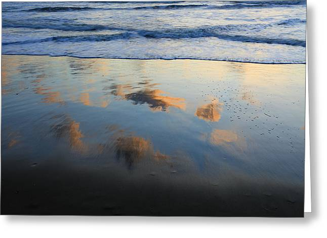 Abstract Beach Landscape Greeting Cards - Beach Clouds Reflected At Sunset Texel Greeting Card by Duncan Usher