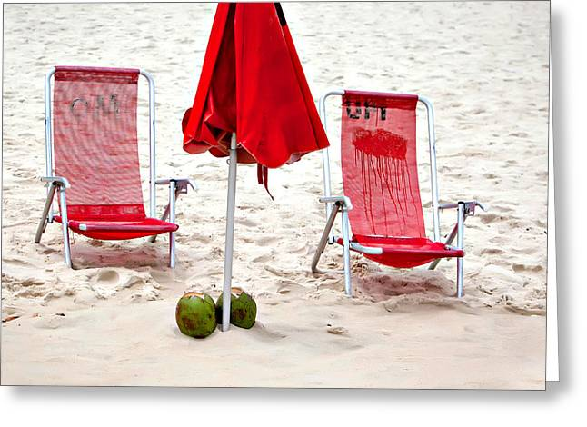 Ipanema Beach Greeting Cards - Beach Coconuts Greeting Card by Art Block Collections