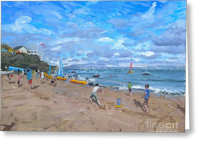 Children At Beach Greeting Cards - Beach cricket Greeting Card by Andrew Macara