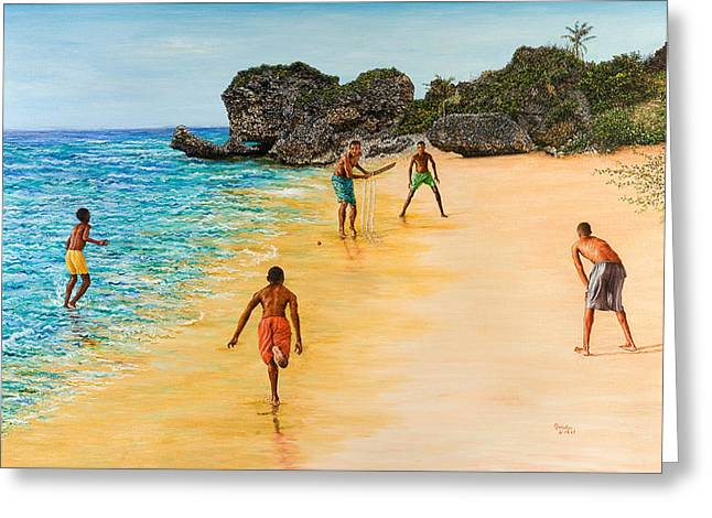 Cricket Paintings Greeting Cards - Beach Cricket Greeting Card by Victor Collector