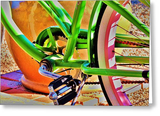 Three Speed Greeting Cards - Beach Cruiser Greeting Card by Helen Carson