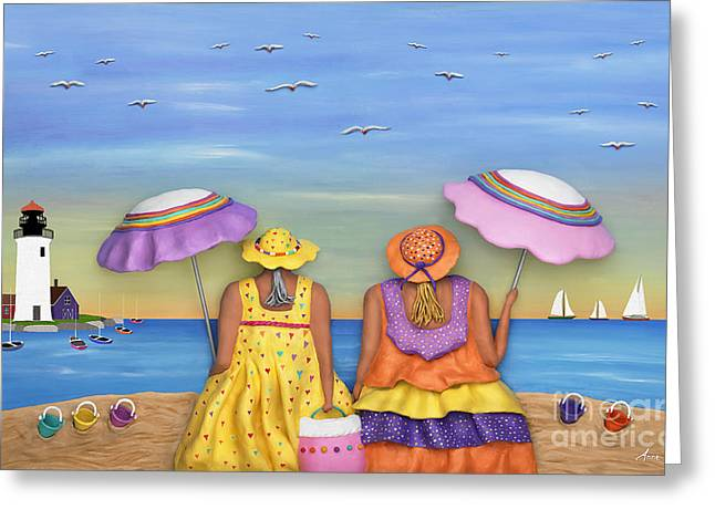 Women Sculptures Greeting Cards - Beach Date Greeting Card by Anne Klar