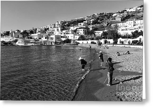 People At The Beach Greeting Cards - Beach Day at Mykonos mono Greeting Card by John Rizzuto