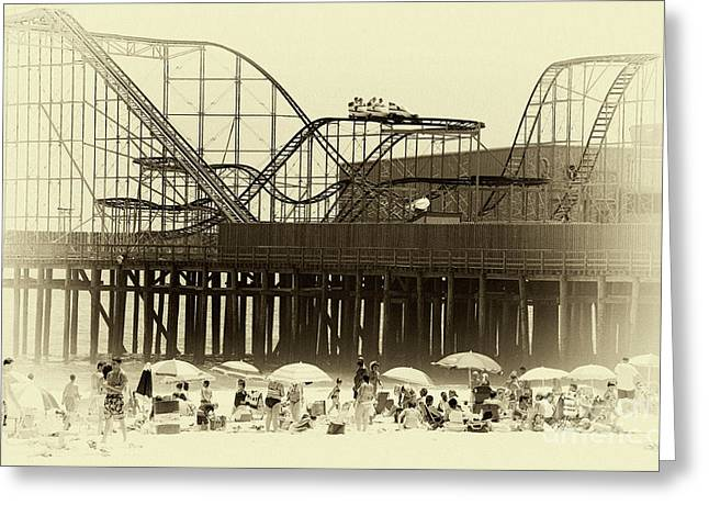 Wooden Coaster Greeting Cards - Beach Day at Seaside Greeting Card by John Rizzuto