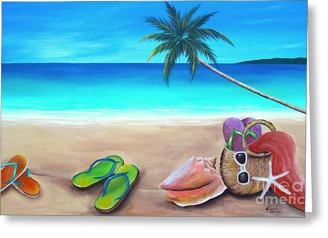 Seashell Picture Paintings Greeting Cards - Beach Day Greeting Card by Gabriela Valencia