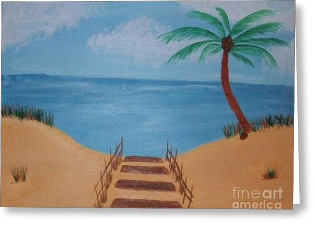 Sand Dunes Paintings Greeting Cards - Beach Day Greeting Card by Krystal Jost