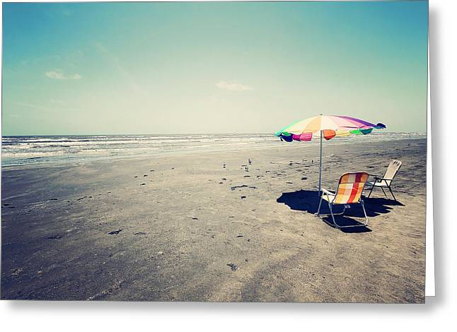 Empty Chairs Greeting Cards - Beach Day Greeting Card by Trish Mistric