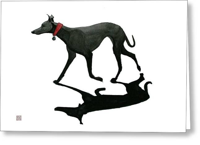 Greyhound Dog Greeting Cards - Beach Dog Greeting Card by Richard Williamson