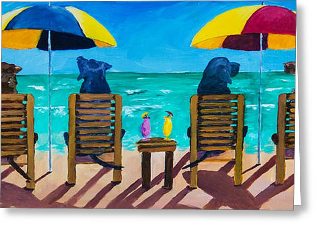 Chocolate Lab Greeting Cards - Beach Dogs Greeting Card by Roger Wedegis
