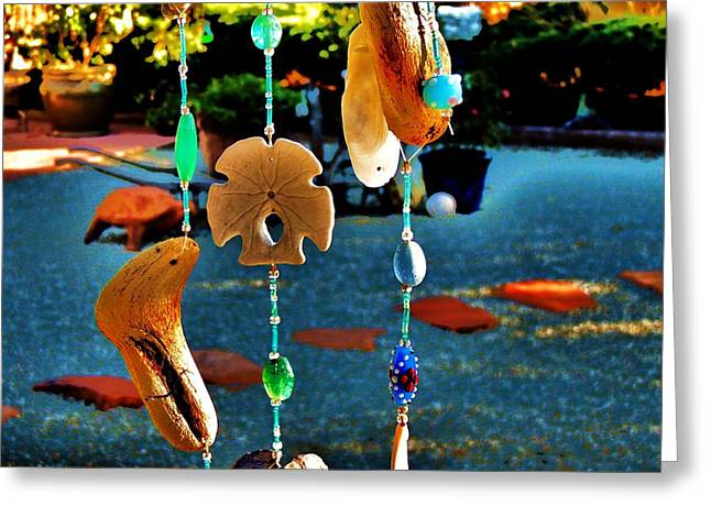 Wind Chimes Greeting Cards - Beach Dreams Greeting Card by Helen Carson