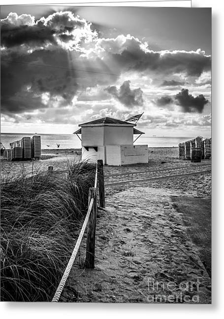 First Star Greeting Cards - Beach Entrance to Old Glory - Black and White Greeting Card by Ian Monk