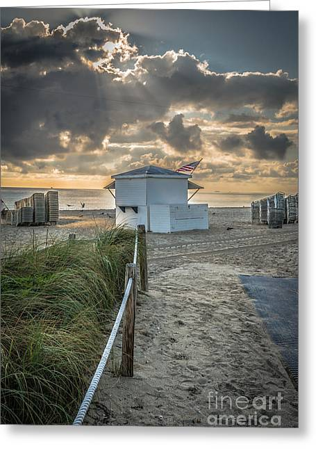 First Star Greeting Cards - Beach Entrance to Old Glory - HDR Style Greeting Card by Ian Monk