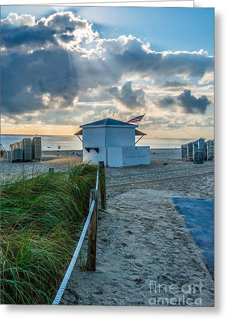 First Star Greeting Cards - Beach Entrance to Old Glory Greeting Card by Ian Monk